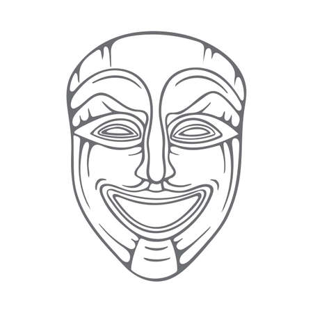 Theatrical mask. Comedy mask hand drawn illustration. Happy mask sketch drawing. Part of set.