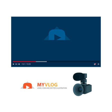 Video player interface illustration. Video player and digital camera. Video content concept set. Illustration