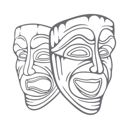 Theatrical masks. Comedy and tragedy masks hand drawn vector illustration. Happy and sad mask sketch drawing.