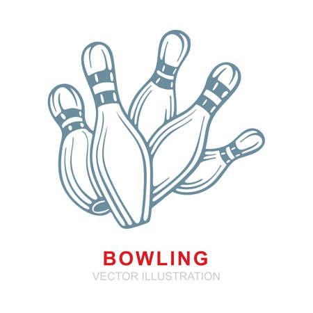 Bowling. Bowling pin realistic hand drawn vector illustrations set. Bowling pin sketch drawing. Part of set.
