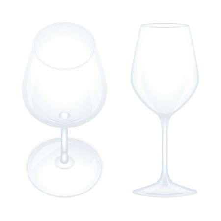 Wine glass. Realistic wine glasses top and side views vector illustrations set. Empty wine glasses. Part of set. Illustration