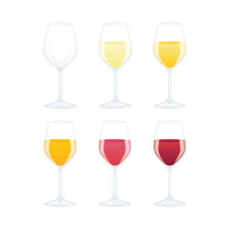 Wine glass. Wine glasses with different color wines, side view vector illustration. Wine colors concept. Part of set. Illustration