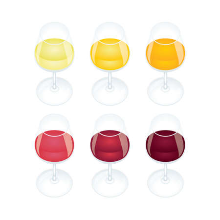 Wine glass. Wine glasses with different color wines, top view vector illustration. Wine colors concept. Part of set.