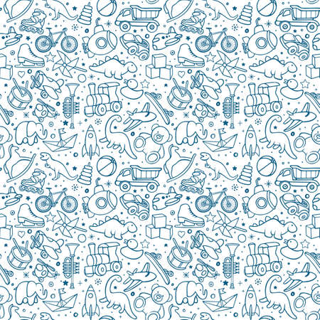 Toys hand drawn seamless pattern. Toys endless sketch drawing texture. Childish background. Part of set.