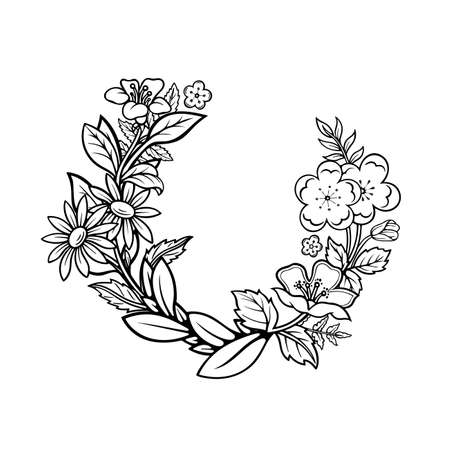 Floral wreath. Hand drawn different flowers and plants wreath vector illustration. Sketched floral frame. Part of set.