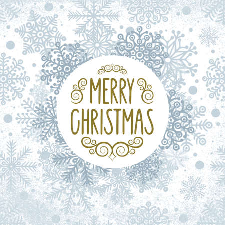 Merry Christmas. Christmas greeting with hand drawn snowflakes and frozen texture. Winter holidays vintage style sketch drawing greeting card design. Part of set.