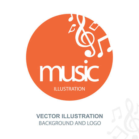 Music logo. Musical theme round emblem with music key and notes. Part of set. Logó