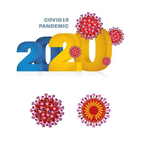 2020 Covid 19 pandemic banner. Corona virus isometric vector illustration. Part of set. Stock Illustratie