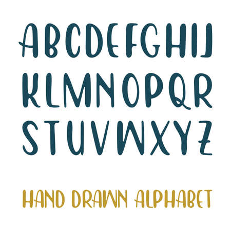 Hand drawn alphabet. Handwritten lettering font isolated on white background.  イラスト・ベクター素材