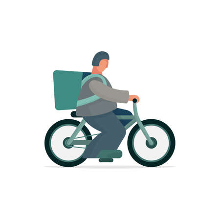 Cartoon style male character with delivery bag riding bike. Part of set.