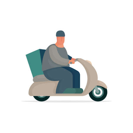 Cartoon style male character with delivery bag riding scooter. Part of set.  イラスト・ベクター素材