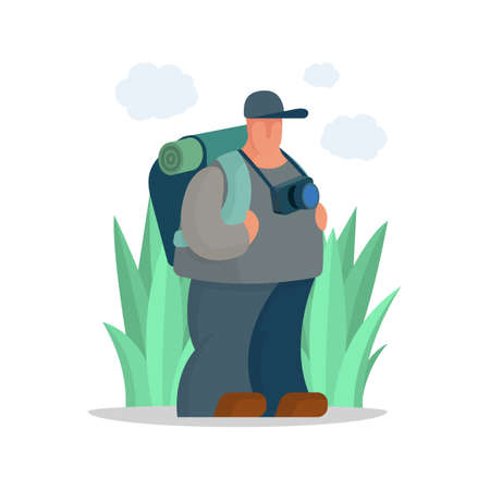 Tourist cartoon character. Traveler with backpack and photo camera in nature. Part of set.