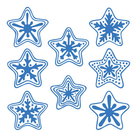 Hand drawn star vector illustrations collection. Part of set.