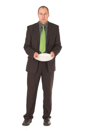 Businessman begging for businessfood photo