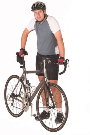 tight fitting: Cyclist holding his bicycle