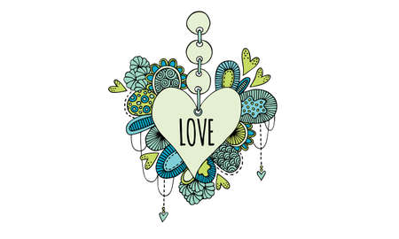 Love heart doodle illustration with aqua and green hearts, swirls and abstract shapes