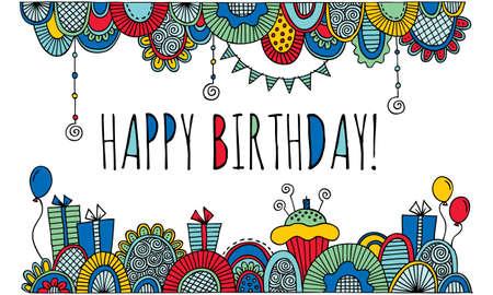 tortas de cumpleaños: Feliz ilustración del doodle de cumpleaños con globos, tortas de cumpleaños, velas, presentes, Bunting y formas abstractas