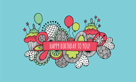 Happy birthday to you doodle illustration with balloons, birthday cakes, candles, hearts, stars and abstract shapes Illustration