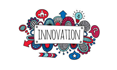 Colourful innovation sign doodle illustration with arrows, thought bubbles, light bulb, swirls and abstract shapes Illustration