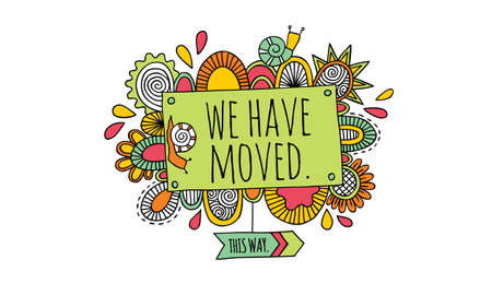 Colourful we have moved sign doodle illustration with snails and abstract shapes Vectores
