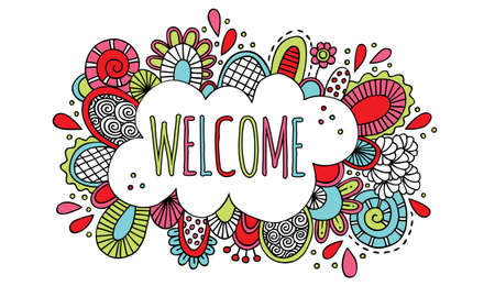 Colourful welcome doodle illustration with bright colours and abstract shapes and swirls