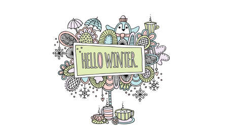 Hello Winter Hand Drawn Doodle Vector Illustration in Pale Colours