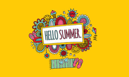 Hello Summer Hand Drawn Doodle Vector with Yellow Background