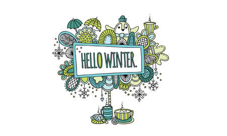 Hello Winter Hand Drawn Doodle Vector Colourful Greens and Aqua