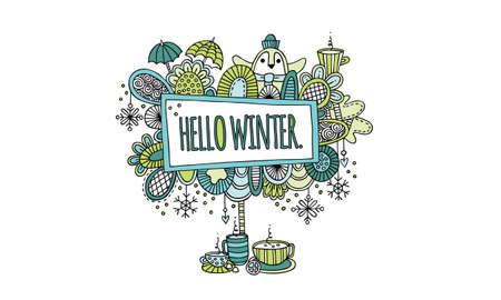 Hello Winter Hand Drawn Doodle Vector Colourful Greens and Aqua