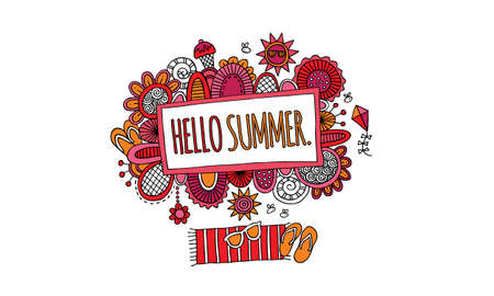 Bright Hello Summer Hand Drawn Doodle Vector Illustration