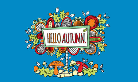 Sign with the words hello autumn surrounded by abstract shapes, swirls, autumn leaves, acorns, and mushrooms on blue background