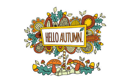 Colourful sign with the words hello autumn surrounded by abstract shapes, swirls, autumn leaves, acorns, and mushrooms on white background