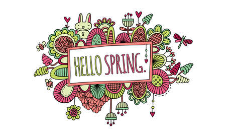 Bright sign with the words hello spring surrounded by abstract shapes, swirls, flowers, rabbit, hearts, and new growth on a white background, vector illustration