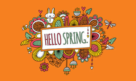 Sign with the words hello spring surrounded by abstract shapes, swirls, flowers, rabbit, hearts, and new growth on an orange background, vector illustration