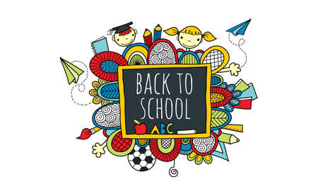 Back to School Blackboard Hand Drawn Doodle Bright Vector with the words back to school on a blackboard surrounded by abstract shapes, swirls, pencils, kids, paper planes, books, and hands