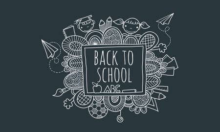 Back to School Blackboard Hand Drawn Doodle Vector with the words back to school on a blackboard surrounded by abstract shapes, swirls, pencils, kids, paper planes, books, and hands
