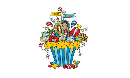 Multi Coloured Birthday Cupcake Hand Drawn Doodle Vector with flags, icing, hearts, swirls, decorations and abstract shapes