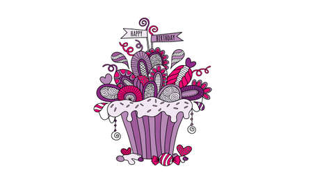 Birthday Cupcake Hand Drawn Doodle Vector Bright purple and pink with flags, icing, hearts, swirls, decorations and abstract shapes