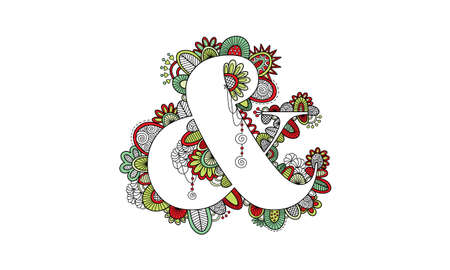 Ampersand Hand Drawn Doodle Vector Bright Colours Illustration