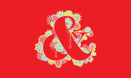 Ampersand Hand Drawn Doodle Vector on Red Background Illustration