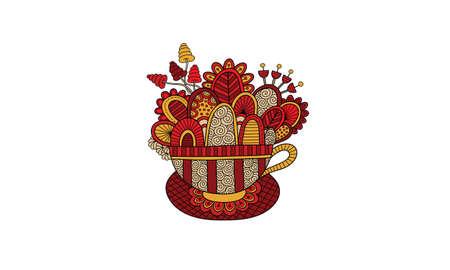 Cute teacup doodle vector illustration with flowers, swirls, and abstract shapes - red and gold