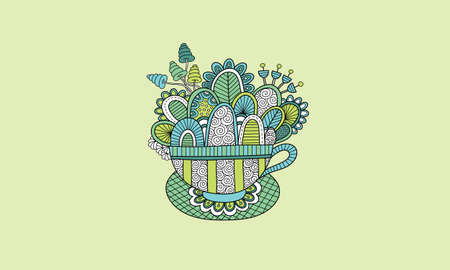 Cute teacup doodle vector illustration with flowers, swirls, and abstract shapes on green background Illustration