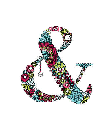 Ampersand hand drawn doodle vector bright & symbol or ampersand vector illustration with flowers, swirls and abstract doodles. Illustration