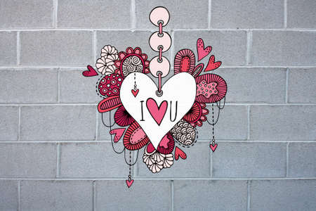 Colorful love heart doodle illustration with hearts, swirls and abstract shapes on a grey brick wall to look like graffiti