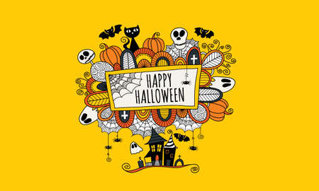 Halloween doodle illustration with the words happy halloween surrounded by skulls, bats, pumpkins, ghosts, cobwebs and abstract shapes on a yellow background