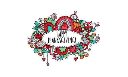 Thanksgiving doodle vector illustration with the words happy thanksgiving in an oval panel surrounded by a turkey, pumpkin, owl, leaves, acorns, berries, hearts, swirls and abstract shapes on a white background