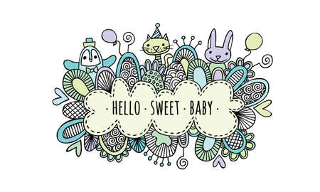 Hello Sweet Baby Boy Hand Drawn Doodle Vector Pastel colored vector illustration of a cloud. Illustration