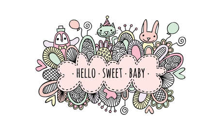 Hello Sweet Baby Girl Hand Drawn Doodle Vector Pastel colored vector illustration of a cloud. Illusztráció