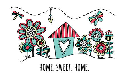 Home Sweet Home Hand Drawn Vector Illustration Cute colorful house and garden with the words home sweet home underneath
