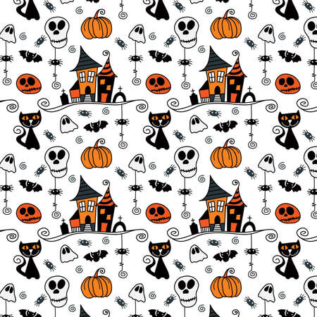 Halloween Seamless Pattern Hand Drawn Vector Bright coloured seamless pattern ideal for a background for halloween celebrations, invitations and parties. Illustration